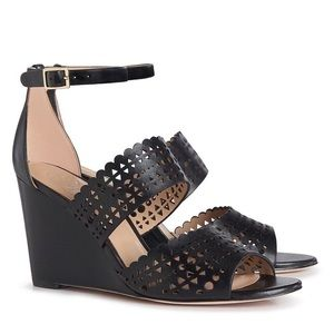 Tory Burch Black Perforated Gladiator Wedge